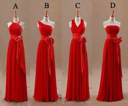 Wholesale Red Lace Tights - 2015 Red Bridesmaids Dresses 4 Styles Tight Pleats Elegant Bow Knot Chiffon Long Designer Plus size Bridesmaid Party Dresses