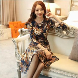 Wholesale Working Dress Fashion Korea - Dresses women 2014 autumn dress Korea slim printing long sleeve dress with belt fashion girl casual winter dresses Wholesale