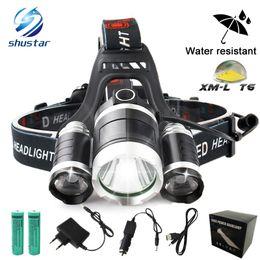 Wholesale Car Charger Usb Box - 13000LM LED Head lamp Rechargeable XM-T6+2Q5 Headlight Fishing Lamp Hunting Lantern +2x 18650 battery +Car AC USB Charger+Box