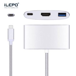 Wholesale Hub Charger - USB 3.1 Type-C to HDMI USB-C Digital Multiport Adapter 4K Female USB 3.0 HUB USB-C OTG Charger for Macbook Projector