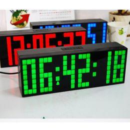 Wholesale Digital Display Clock Countdown - NEW LED Clock Display Jumbo Large Digital Wall Alarm Countdown World Clock Blue LED Blue Clocks Timer
