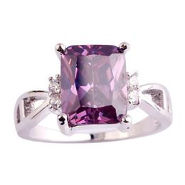 Wholesale Amethyst Ring 11 - Wholesale 2016 Dreamlike Women New Jewelry Purple Amethyst White Topaz Fashion Silver Ring Size 6 7 8 9 10 11 Free Shipping