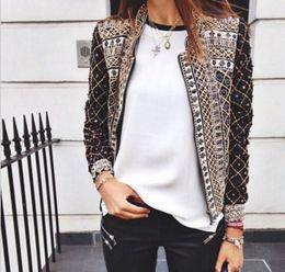 Wholesale Short Sleeve Woman Jacket Suit - Women Blazers And Jackets Hot Print Full Sleeved Blazer Feminino Ladies Suits Women Floral Blazer Ladies Formal Blazer free shipping