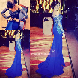 Wholesale Long Dress Vneck - Sheer Royal Blue Long Sleeves Custom 2015 Vneck Prom Evening Party Dresses Lace Chiffon Sexy Pageant Celebrity Illusion FormalGowns EV0188