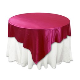 Wholesale Red Top Hotel - Table Sashes Masquerade Party Supplies Table Cloth Satin Noble Tablecloth Overlay Square Top Banquet Tablecloth Illusion Wedding Party Hotel