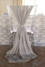 Wholesale Light Blue Wedding Chair Covers - Popular Fashion Wedding Chair Sashes Choose Color Chiffon 1.5m Length Napkin Sample Factory Party Banquet Chair Covers Wedding
