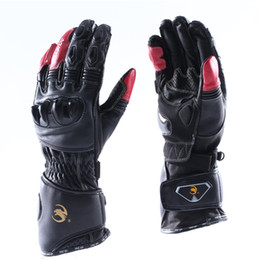 Wholesale Summers Motorcycle Gloves - Leather Motorcycle Bicycle Sporting Glove Racing Off-road Motocross Riding Cycling Glove Breathable Long Sleeve Black and Red Men