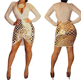Wholesale Long Dress Brocade - Fashion Sexy Europe deep V collar bronzing high-grade brocade cotton dress lattice 3XL PLUS SIZE Women dress