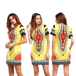 Wholesale Cheap Sex Clothes - Mini Sex Dress 2017 Womens Fashion Robe Boho Clothing Cheap Print Short Sleeve O Neck Linen Sundress Robe Lolita Ethnic Tunic