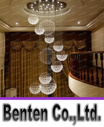 Wholesale big halls - Modern Big Hall Chandelier Lighting Crystal Ball Hanging Lamp Hotel Villa Banquet Ceiling Fixture Decoration Lamparas de LED LLFA5043F