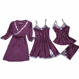Wholesale Nightgown Band - Band sexy women's lace silk satin pajamas sets bathrobe & nightdress four pieces girls home wear V-neck lingerie set hot