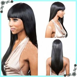 Wholesale Cheap Brazilian Virgin Half Wig - Lace Front Full Lace Wigs Natural Straight With Bangs In Stock Unprocessed Cheap Grade 7A Brazilian Virgin Human Hair Wigs