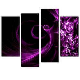Wholesale Art Modern Oil Painting Purple - 4 Picture Combination Canvas Print Wall Art Painting For Home Decor Purple Smoke Panel Paintings Modern The Picture Decor