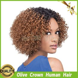 Wholesale Two Tone Blonde Hairstyles - Virgin Peruvian Kinky Curly Blonde Ombre Full Lace Wigs Glueless Human Hair Lace Front Wig Two Tone Color #1b 30 with Baby Hair