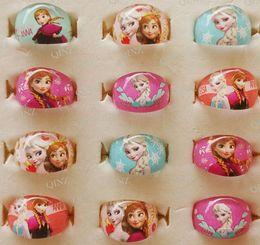 Wholesale Cartoon Resins - NEW 100pcs Frozen Ana Elsa Cartoon Resin Rings Girls Children Party Gift Favor Christmas Xmas Gift Wholesale Jewelry
