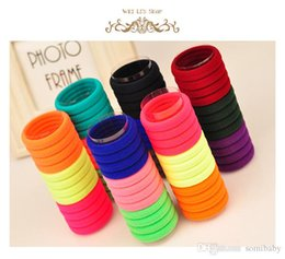 Wholesale Hair Tie Elastics - TS 100pcs lot Candy Colored Hair Holders High Quality Rubber Bands Hair Elastics Accessories Girl Women Tie Gum (Mix Colors)