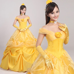 Wholesale Belle Beauty Beast Costumes Adults - Beauty and Beast Princess Belle Cosplay Adult Costume Luxury Fancy Dress+Pannier Halloween Costumes for Women Custom Any Size