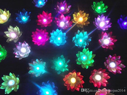 Wholesale Chinese Floating Flowers Lanterns - Flying lantern 100PCS wishing lanterns Chinese Floating Garden Water Pond Artificial lotus flower lamp Wishing Christmas Party Lamp