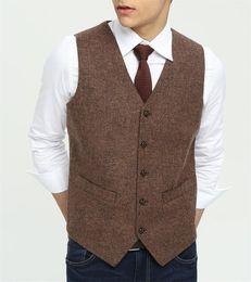 Wholesale Fit Japan - 2018 Vintage Brown Tweed Vest Wool Herringbone Groom Vests Five Buttons Men's Suit Vests Slim Fit Men's Dress Vest Wedding Waistcoat