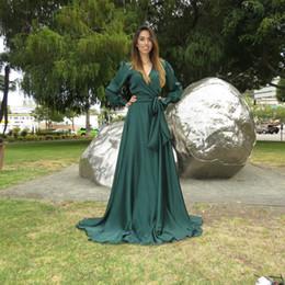 Wholesale Long Dresses Prom Dubai Sales - 2015 Free Shipping Hot Sale V-neck Chiffon Evening Dresse Long Sleeve Dubai Arabic Dresses Middle East Dress Prom Gown