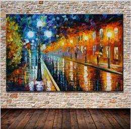 Palettenmesser malerei nacht online-Moderne Wandkunst Abstrakte Straßenlaternen Bank Nacht Landschaft Spachtel Beste Handgemalte Ölgemälde Auf Leinwand Wohnkultur