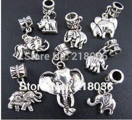 Canada 100 p Mix Antiques Argent Alliage animal Éléphant Dangle Charmes Pendentifs Pour Européen Bracelet Mode Bijoux Faisant Perles Marque Accessoires supplier european p Offre