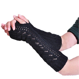Wholesale Crochet Fingerless Gloves Wholesaler - Wholesale-Free Shipping Women's Hollow Out Braided Knitted Crochet Long Fingerless Gloves Arm Warm Oversleeve
