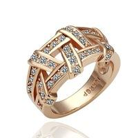 Wholesale Quality Crystal Stone Wholesale - Drop Shipping Top Quality Weave 18K Platinum Plated Ring Jewelry Nickel Free K Golden Plating Platinum Rhinestone,elegant ring nice gift