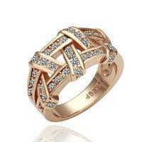 Wholesale Nice Crystal - Drop Shipping Top Quality Weave 18K Platinum Plated Ring Jewelry Nickel Free K Golden Plating Platinum Rhinestone,elegant ring nice gift
