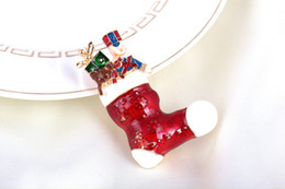Wholesale Decorations For Boots - New Christmas Boots Brooches Pins Fashion Santa Claus High Quality Clothes Christmas Decoration Gift For Children