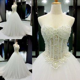 Wholesale Church Real - Real Picture Crystal 2016 Wedding Dresses With Beads Sequins Tulle Chapel Train A Line Church Sweetheart Bridal Dress Ball Gowns