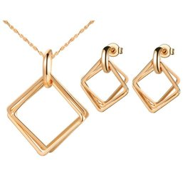 Wholesale Nickel Free Pearl - 2015 Diamond Jewelry Pearl 925 Sterling Silver Set Rose Gold silver Color Square Necklace Earrings Chain for Love Party Gift Nickel free