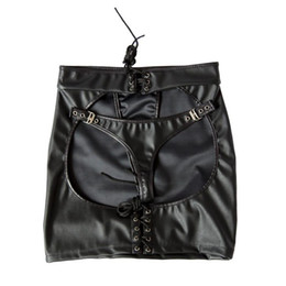 Wholesale Adult Skirts - Adjustable size Black Patent Leather Sexy Dominatrix Mooning skirt Fetish Harness Adult Sex Club Dress Anasyrma briefs knickers