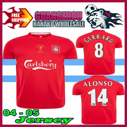 Wholesale Vintage Football Shirt - 04 05 Final Istanbul Retro Soccer Jersey #8 Gerrard 2005 #14 Alonso Champion Football Shirts Vintage Throwback Calcio MAGLIA