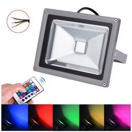 Wholesale Ir Floodlight Outdoor - Outdoor Floodlight RGB LED Lamp 50W 30W 20W 10W IP65 Waterproof Flood light Warm White Cold White with IR Remote Controller order<$18no trac