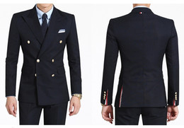 Wholesale Slim Fit Wedding Dresses - 2016 Double-Breasted Side Vent Groom Tuxedos Peaked Lapel Men's Wedding Dress Holiday Clothing Business Suit(Jacket+pants+tie)
