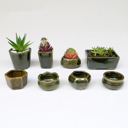 pequenos escritórios de jardim Desconto Flower Pot Eco-Friendly 8pc / Definir Forma simples para Suculentas carnudas plantas Vaso de cerâmica pequeno Mini Casa / Jardim / Decoração para escritório