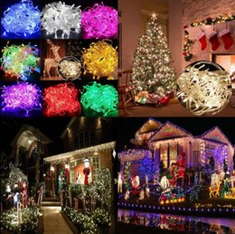 Wholesale Solid Plugs - 10M 100 LED String Lights Waterproof Christmas Tree Fairy String Party Lights Lamp Lighting With Plug 8 Colors OOA3594