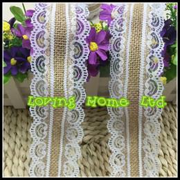 Wholesale Burlap Art - 33Ft  10M 5.5cm Width Natural Wreath Jute Burlap Hessian Ribbon Lace Trim Edge Tape Rustic Vintage Wedding Art Craft Ribbon