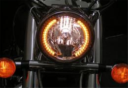 Wholesale Universal Amber Motorcycle - 7'' Motorcycle Amber 26 LED round Headlight Turn Signal with 35W HID 6000K for Harley Honda Suzuki Kawasaki Yamaha