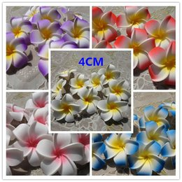 Wholesale Pink Wedding Hair Accessories - 100pcs 4cm hawaiian 5colors real touch artificial plumeria flower diy hair accessory pe frangipani wedding party decoration