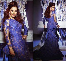 Celebridade vestidos myriam tarifas on-line-Vestidos 2018 Azul Royal Sereia Rendas Vestidos de Noite com Mangas Compridas Ruffles Longos Vestidos de Baile Myriam Fares Celebrity Dresses