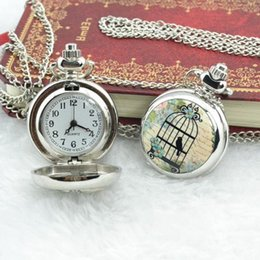 Wholesale Vintage Bird Cage Watch Necklace - new cute Small birds cage flower porcelain enamel necklace table designer pocket watch vintage pocket & fob watches #L05478 order<$18no trac