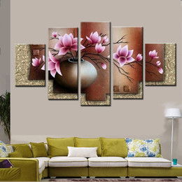 Wholesale Framed Wall Decor Sets - 5 Piece Wall Art Decor Picture Set Hand painted Modern Abstract Pink Flowers in Vase Oil Painting On Canvas Landscape Sale No Framed