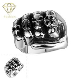 Wholesale Skull Punk Ring Black - Rings for Men Punk Style Unisex Fist Full Fingers Skull Rings Jewelry 316L Stainless Steel Black Onyx Skeleton Biker Ring