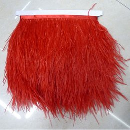 Wholesale White Ostrich Fringe Feathers - Ostrich Feather Trimming 10yards lot White Black Fushia Yellow Blue Red Yellow Orange Ostrich Feather Fringe Long Ostrich Feather Plumes