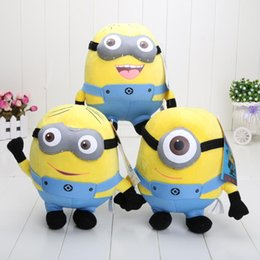 Wholesale Despicable 9inch - Despicable Me 90pcs 9inch high quality Despicable Me Minion 3D eyes Plush Toy Doll Minions Dave Jorge Stewart Plush Toy hot 1206#06