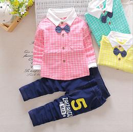 Wholesale Gentlemen Clothing Styles - New Autumn Spring Baby Boy Clothes Set Plaid Shirt+Pants 2 Pieces Boys Gentleman Suit 3 colors 4 s l