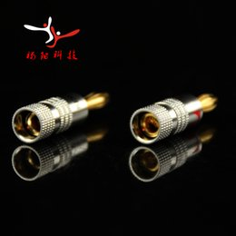 2019 conectores de cable ip68 Wholesale-14pcs / lot! Conector Banana Nakamichi de 4 mm Conector de cobre bañado en oro de 24K Adaptador de audio Socket de tornillo Tornillo de conexión de poste Conector RCDNK