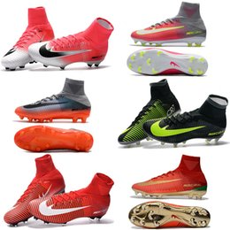 Wholesale Yellow Canvas Shoes Kids Boys - Newairl kids soccer shoes for boys mercurial superfly fg cr7 sock boots football womens mens high tops ronaldo ankle indoor soccer cleats